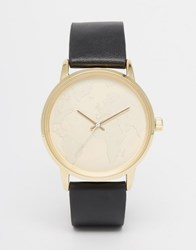 Asos Watch With Embossed Map Face And Black Strap Black