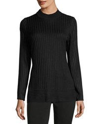 Ming Wang 27 L Long Sleeve Ribbed Shell Top Black