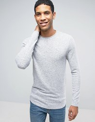 Asos Longline Muscle Long Sleeve T Shirt In Loose Knit Jersey With Curved Hem Grey