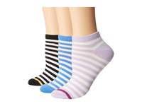 Kate Spade 2 Color Stripes Ped 3 Pack Assorted Hose Multi