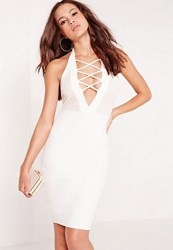 Missguided Halter Neck Lace Criss Cross Midi Dress White