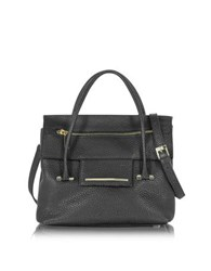 Francesco Biasia Nora Hammered Leather Satchel Bag Black