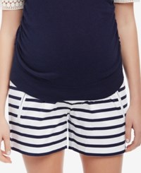 Motherhood Maternity Striped Shorts Navy White Stripe