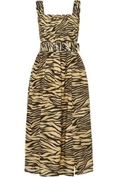 Nicholas Belted Smocked Zebra Print Cotton And Silk Blend Midi Dress Neutral