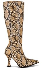 Jeffrey Campbell Corrode Boot In Brown. Beige Snake And Brown Suede