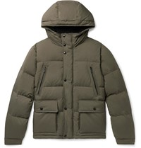 Tod's Quilted Shell Hooded Down Jacket Green