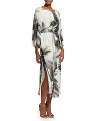 Tamara Mellon Peacock Print Peasant Dress Multicolor