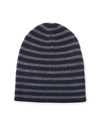 Vince Striped Wool Beanie Hat H Shadow Black