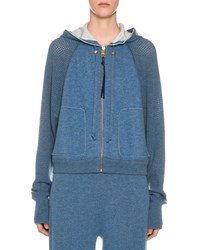 Agnona Cashmere Netted Sleeve Zip Front Hoodie Blue