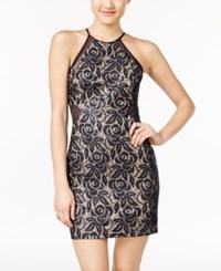 As U Wish Juniors' Sequin Lace Illusion Bodycon Dress Navy