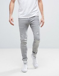 Redefined Rebel Skinny Fit Jeans In Grey With Distressing Bleached Grey
