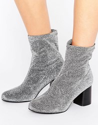 Truffle Collection Stretch Glitter Ankle Boot Silver