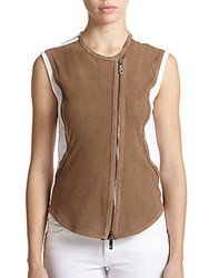 Callens Perforated Suede Vest Brown White