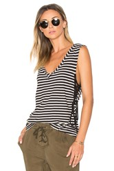 Pam And Gela Striped Lace Up Tank Black And White