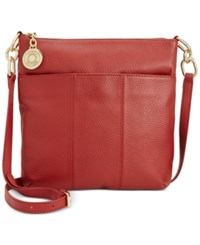 Tommy Hilfiger Th Signature Pebble Leather Crossbody Red