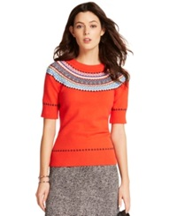 Tommy Hilfiger Fair Isle Crew Neck Sweater Poppy Red