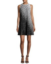 Carmen Marc Valvo Sleeveless Ombre Sequined Swing Dress White Black White Black