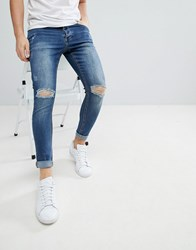 Kings Will Dream Muscle Fit Jeans With Distressing In Mid Wash Blue