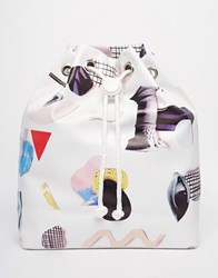 Monki Printed Drawstring Duffle Backpack Multi