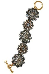 Oscar De La Renta Burnished Gold Tone Crystal Bracelet Gold