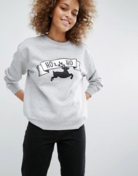 Monki Ho Ho Reindeer Christmas Sweatshirt Grey