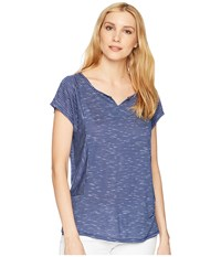 Tribal Stripe Knit Drop Shoulder Top Pacific T Shirt Blue