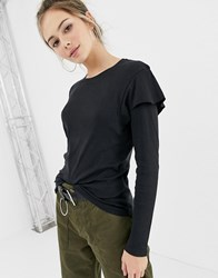 Brave Soul Lydia Long Sleeve Top With Frill Detail Black