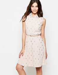 Yumi Belted Skater Dress In Cactus Foil Print Nude Beige