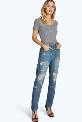 Boohoo Button Fly Distressed Boyfriend Jeans Mid Blue
