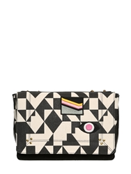 Jerome Dreyfuss Martin Graphic Print Cotton Shoulder Bag Black White