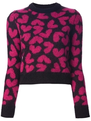 Saint Laurent Heart Print Sweater Black