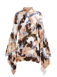 Ashish Camouflage Sequinned Flared Sleeve Mini Dress Brown Multi