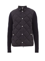 Moncler Panelled Quilted Down Shell And Wool Cardigan Navy