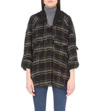 The Kooples Checked Wool Blend Shirt Black Gris Jaune