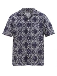 The Gigi Utah Paisley Print Cotton Poplin Shirt Navy White