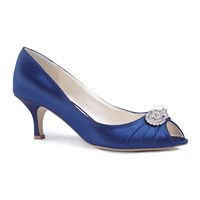 Paradox London Pink Charlene Mid Heel Peep Toe Shoes Blue