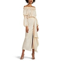 Juan Carlos Obando Washed Satin Off The Shoulder Dress Beige Tan