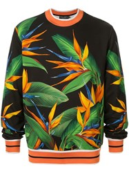 Dolce And Gabbana Leaf Print Sweatshirt Black