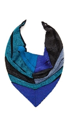 Roarke New York Colorblock Beaded Bib Necklace Black Blue