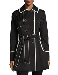 Betsey Johnson Lace Up Back Corset Trench Coat Black