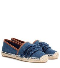 Tory Burch Shaw Denim Fringe Espadrille Blue