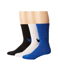 Nike Dri Fit Cotton Swoosh Crew 3 Pair Pack White Black Game Royal Black Black Game Royal Crew Cut Socks Shoes Multi