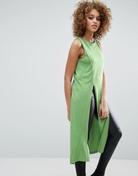 Noisy May Studio Slit Top Forest Green