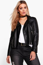 Boohoo Lily Biker Collar Faux Leather Jacket Black