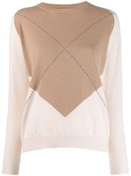 Peserico Contrast Fitted Sweater Neutrals