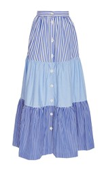 Mds Stripes Mix Tiered Peasant Skirt Blue