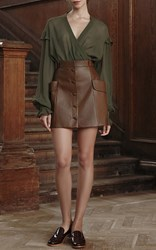 Ulyana Sergeenko Leather Mini Skirt Brown