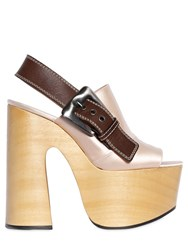 Rochas 160Mm Satin And Leather Platform Sandals