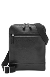 Fossil 'Rory' Leather Courier Bag Black