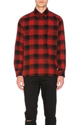Saint Laurent Double Front Patch Pocket Plaid Shirt In Red Checkered And Plaid Red Checkered And Plaid